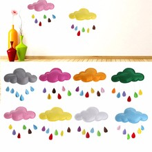 1PC Kids Play Tent Decoration Tent Props Toy Raining Clouds Water Drop/Star Moon Baby Bed Room Hanging Decor Wall Stickers(China)