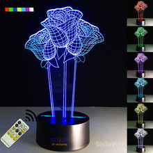 7 Color Changing USB Charge The rose 3D  LED Night Light with 3D Luminous Decor Table Lamp Nightlight Holiday Gifts