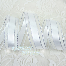 1'' (25mm) White Silver Edge ribbon high quality gift packaging ribbon wedding ribbons