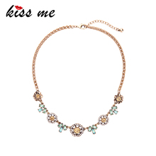 KISS ME Charming Crystal Flowers Necklace Antique Gold Color Chain Alloy Vintage Choker Necklace Women Jewelry(China)