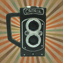 1Piece Retro Twin Lens Reflex Mug Vintage Resin Stain Steel Camuera Coffee Cup Quirky Mug Like Retro Camera
