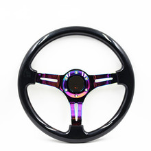 Universal 350mm 14incs Classic Racing Steering Wheel momo With Neo Chrome Spokes Classic ABS Steering Wheel horn button