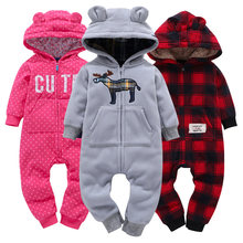 Baby Boy Girl Hooded Thick Rompers Fleece Long Sleeve with Zipper Bodysuit and soft cotton Overalls roupas de bebe Clothing Set(China)