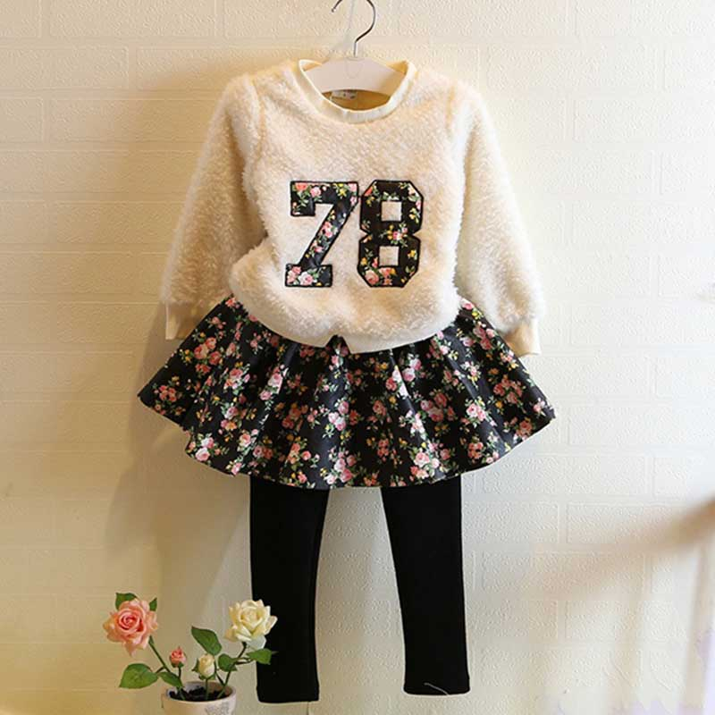 Toddler Infant Girls Outfits,plus velvet hoodies+Floral tutu Pants 2-7y Kids Clothes Set girls winter clothes<br><br>Aliexpress