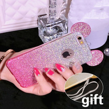 i6 3D Minnie Mickey Mouse Ears silicone Glitter Gradient Case For iPhone SE 5 5s 6 6S 6s plus Cover with Hang rope phone cases