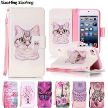 For iPod Touch 5 Case Flip Cover iPod Touch 6 Case Leather Wallet & Silicone Souple Back Cover For iPod Touch 5 6 Phone Case