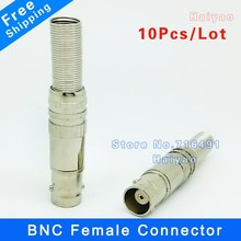Free Shipping 10pcs/lot BNC Female Video Plug Coupler Connector to screw for RG59 video male bnc adapter for cctv(China)
