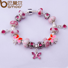 Alibaba Express Fashion European Style Silver Color Charm Bracelet with Murano Glass Beads DIY Fashion Jewelry PA1314(China)