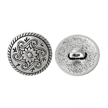 "DoreenBeads Zinc metal alloy Shank Button Metal Button Round Antique Silver Single Hole Flower 15mm(5/8"")Dia,8 PCs(China)"