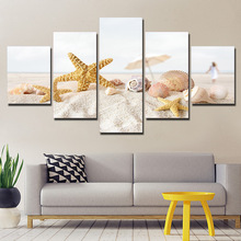 Canvas Pictures Wall Art Framework Home Decor 5 Pieces Beach Sand Shells Paintings Living Room HD Prints Starfish Conch Poster(China)