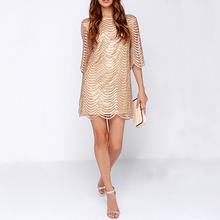 OtherLinks Black/Champagne Wave Sequin Dress Women Sheer Mesh Open Back Cut Out Sequin Hollow Out Half Sleeve Sexy Dress(China)