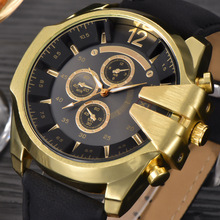 XINEW Luxury Brand Watches Mens Leather Strip Quartz Wrist Watch Male Big Face Gifts Clock Relogio Masculino Man Golden Watch