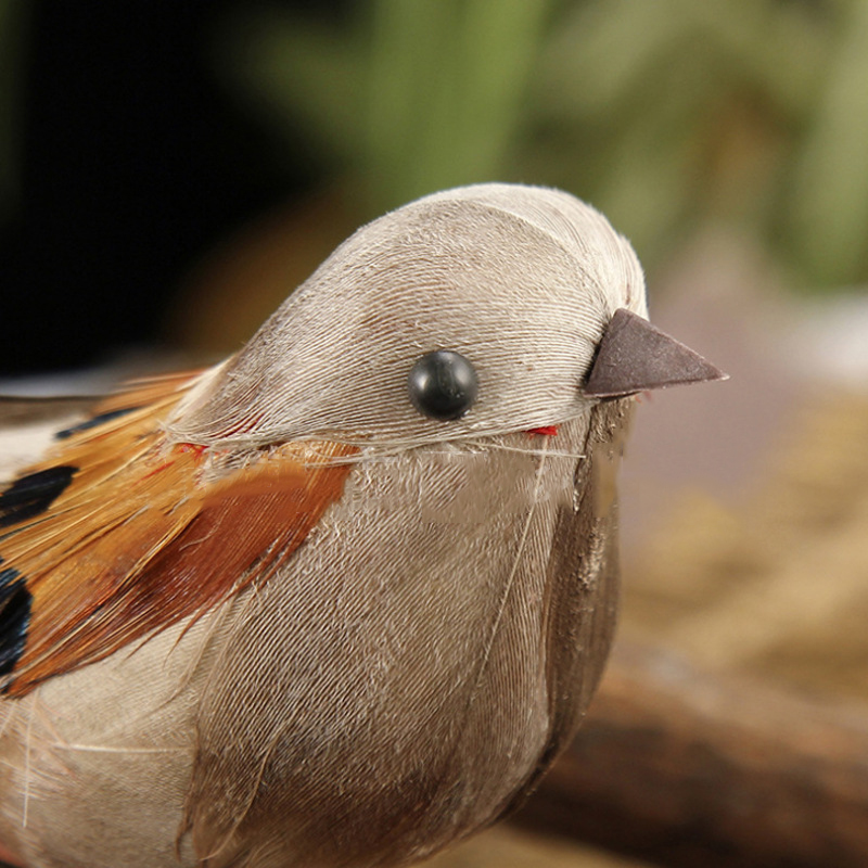 6pcs Artificial Feather Bird Xmas-Tree Decor Perched Woodland Birds Ornament