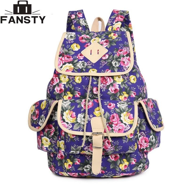 2016 Summer New Fashion Women Backpack Female Floral Canvas Shoulder Vintage School Bag Flower Printing Rucksack for Ladies<br><br>Aliexpress