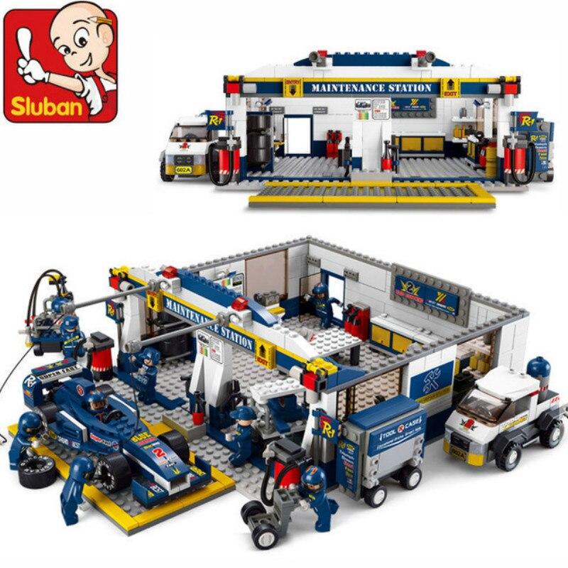 Sluban Educational DIY Bricks Toys F1 Racing Car 741pcs Building Blocks Sets Speedway Pits Block<br>