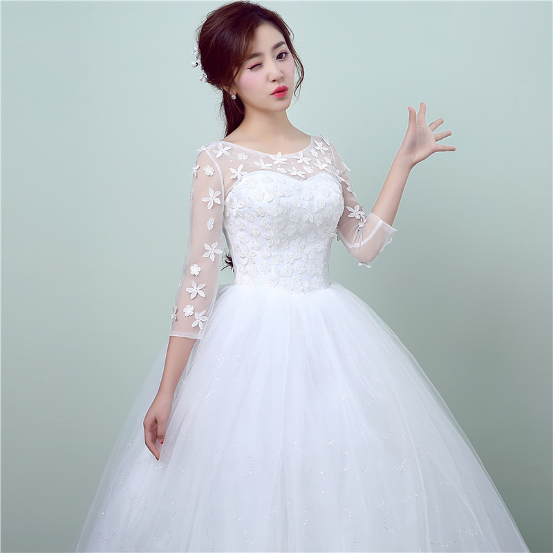 New Style Lace 3 Quarter Wedding Dress Korean Style Simple Chinese