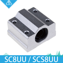 Free Shipping 4pcs/lot 3D printer SC8UU SCS8UU 8mm Linear Motion Ball Bearing block with LM8UU bush Slide Linear Shaft for CNC