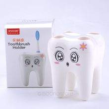 Cartoon Cute 4 Hole Fashion Tooth Style Toothbrush Holder Bracket Container for Bathroom Drop shipping(China)