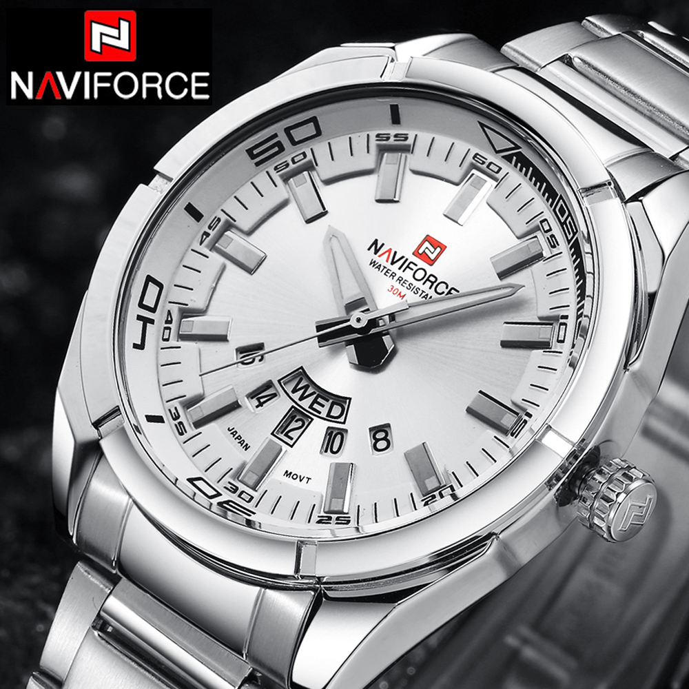 NAVIFORCE Top Luxury Brand Men Sports Watches Mens Quartz Clock Man Stainless Steel Army Military Wrist Watch Relogio Masculino<br><br>Aliexpress