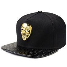 aa1a3dc271a Hip Hop Snapback Caps V For Vendetta Baseball Caps Black Hats Flat Brim  Street Bboy Rapper