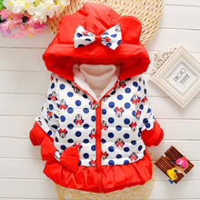 2016 Children Outerwear Coats cotton-padded jacket for girls minnie mouse Down & Parkas warm children winter outwear