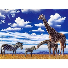 YTG New Cross Stitch Needlework Embroidery 5D DIY Full Diamond Painting Giraffe Animal Round Rhinestone Room Decoration Gift(China)