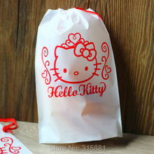 White Hello Kitty Plastic Gift Bag, White Red Plastic Bags with Drawstring, for Party Gift Packaging Wrapping Favors 20pcs/ot