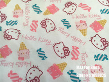 50x150cm candy ice cream Hello Kitty Lycra Cotton Knitted Stretch Fabric for Sewing Clothing girls baby Knit Materials Handmade