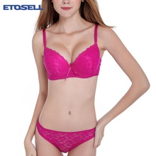 Women Lady Cute Sexy Underwear Satin Lace Embroidery Bra Sets With Panties New jeaz(China)