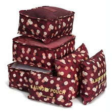 6Pcs Waterproof Clothes Travel Storage Bags Packing Cube Luggage Toiletry Bag Organizer Pouch Home Organization Wine red,Blue(China)