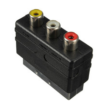High quality 20 Pins SCART Male Plug To 3 RCA Female AV TV Audio Video Adaptor Converter IN(China)