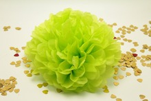 "10PC 10"" Tissue Paper Pom Poms lime green Flower Balls baby shower wedding 1st 16th 21th birthday Party decoration kits supplies"