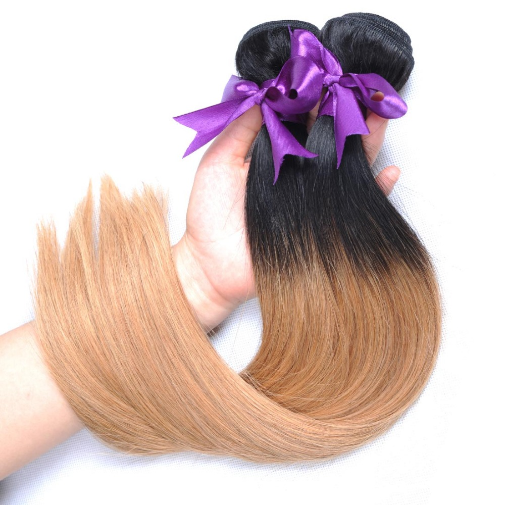 Ombre Brazilian Hair 1B 27 Straight Hair Weave Bundles 2 Two tone honey blond human hair extensions (35)