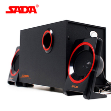 SADA SL-8018 Laptop Desktop Subwoofer Wooden Computer Speaker Multimedia Active USB 2.1 Satellite Speakers for PSP/DVD/IPAD/MP4