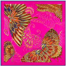 100cm*100cm Twill Silk Women Silk Square Hand Draw Paint Butterfly Print Silk Scarf Femal High Quality Retro Brand Shawl 3107