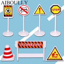 Simulated city Exercise reaction 7pcs/1bag simulation Mini City road sign Road warning Toys PVC 15G