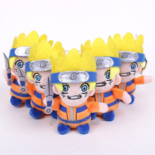 Anime Naruto Pendant Plush Toys with Keychain Uzumaki Naruto Uchiha Sasuke Gaara Uchiha itachi Soft Stuffed Dolls 13cm 10pcs/lot(China)