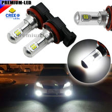 2pcs High Power 6000K Xenon White 8-SMD CRE'E H11 H8 H9 H16(JP) LED Bulbs For Fog Lamps or Driving Light Replacement Upgrade