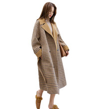 Plaid Harajuku Plus size Winter Wool Coat Women Long Coats 2018 New Top Quality Loose Ladies Woolen Jacket casaco feminino Z529(China)