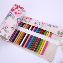 36/48/72 Holes Girls Canvas School Pencil Case Roll Up Peony Sketch Painting Pen Curtain Storage Pouch Bag Pro Art Supplies(China)