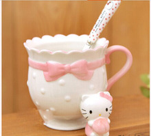Kawaii lovely pricess pink cat cartoon hello kitty ceramic drink cup coffee mug