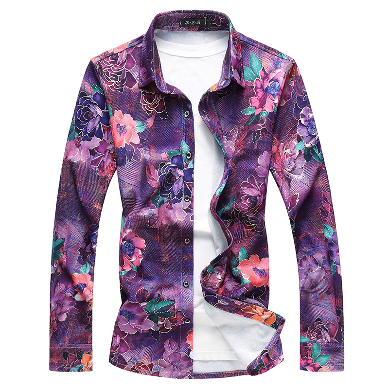 Quality Autumn New Shirt Men Plus Size Long Sleeve Casual Men's Floral Shirts 7XL 6XL 5XL Turn Down Collar Business Male Shirt