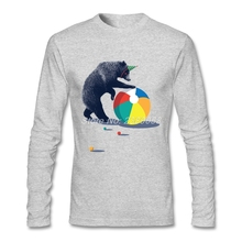 2017 Fashion Mens Tee Shirt Long Sleeve Showtime Custom Made Bear t-shirts Luxury Brand Cotton Men t-shirt