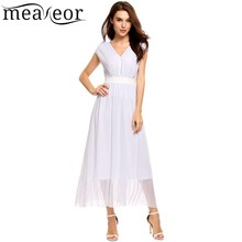 Meaneor Vintage Hollow Out Shimmer Mesh Bodycon A-Line Pleated Hem Female Summer Dresses Double V-Neck Waist Band Vestidos(China)