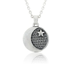 Skyrim Islamic Religious Symbol Moon And Star Pendant Link Chain Amulet Necklace Fashion Jewelry Finding Drop Shipping(China)