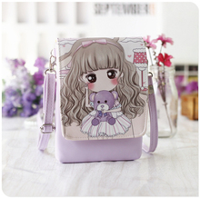New Woman Cute Cartoon Printed Flap Women Shoulder Bags Female Purse and Handbags Girls Children Mini Crossbody Bag Female bag(China)