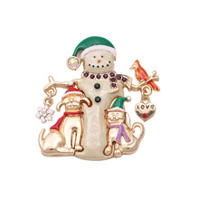 Christmas Snowman Gold-color Costume Brooch Red Rhinestone Christmas Brooches Lot Collar Clip For Scarf Lapel Pin Buckle X129