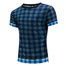 2017 New High Quality Summer T Shirt Male Short Sleeved Casual Plaid Mesh Grid Tees Tops O-Neck T-Shirts Men Clothing TS23