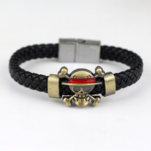 Anime Jewelry One Piece Naruto Soul Eater Attack on Titan Charm Woven Leather Bracelet Cosplay(China)