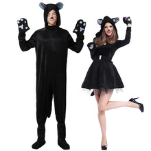 2017 New Halloween Cosplay Costume Black Cat Pattern  Serve Animal Serve Lovers Dress Neutral Kitty Serve Men And Women